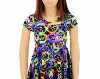 Toddlers Kids and Girls Size UV Glow Neon Hive Print Cap Sleeve Spandex Skater Dress  Sizes 2T 3T 4T and 5-12 - 155096