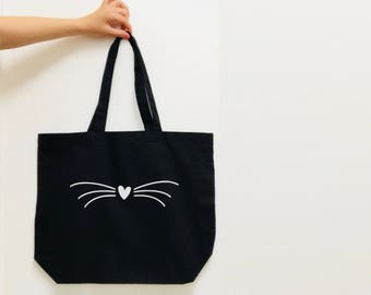 Cat Lover's Gift - Cat's Whiskers - Cat Tote Bag - Choose from 2 different models - Natural or Black Tote