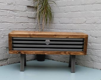 Tall Tv stand Rustic industrial tv cabinet with metal grill to front industrial chic