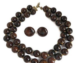 ON SALE! Marvella Brown Necklace Earrings Set, Vintage Lucite Demi Parure Runway Estate Costume Jewelry