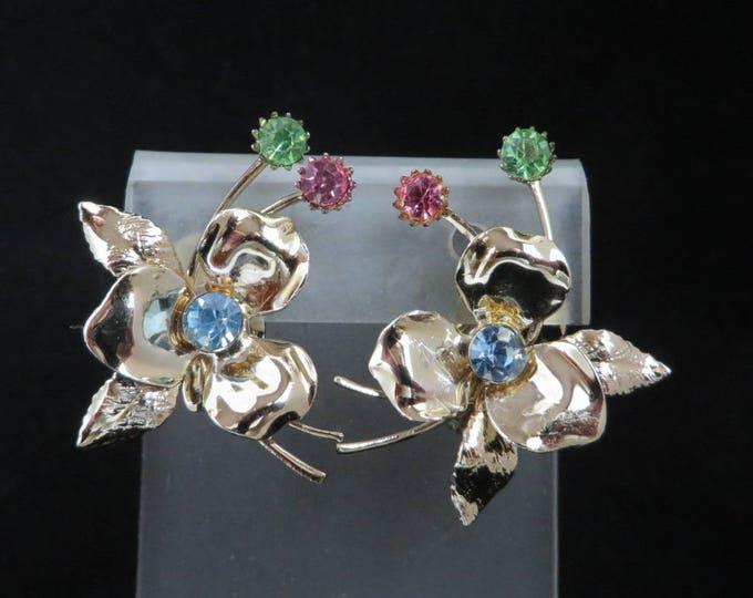 Gold Tone Flower Earrings | Vintage Pastel Rhinestone Clip-ons | Mid-Century Earrings
