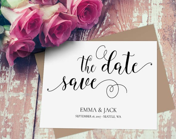 Elegant Save the Date Template INSTANT DOWNLOAD