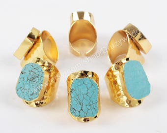 Wholesale Pretty Gold Plated Blue Howlite Turquoise Statement Ring Turquoise Stone Cuff Ring Handmade Gemstone Band Ring Boho Jewelry G0208