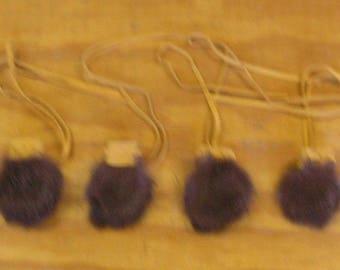 4 Small Brown Rabbit Fur Bags