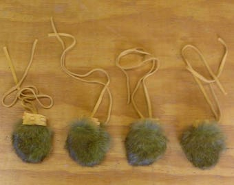 4 Small Green Rabbit Fur Bags