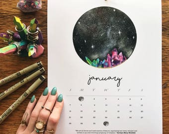 2018 Many Moons Calendar / Moon Calendar / Moon Art