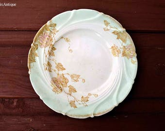 Antique Brownfield England Gold Flowers and Leaves Decor Side/Cake/Bread Small Plate Retro Old English Chinaware Cottage Chic Tableware