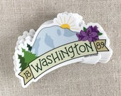 Washington 1889 Vinyl Sticker / Illustrated Water Bottle Sticker / Mt Rainer / Rhododendron / Cool Laptop Sticker / Modern Travel Sticker