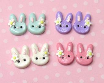 Bunny Earrings, Cute Earrings, Everyday Earrings, Hypoallergenic, Nickel Free, Pastel Bunny Rabbit, Girls Earrings, Kawaii Bunny