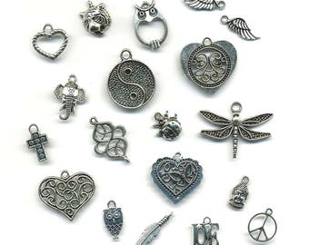 19 charms, pendants, various themes in antique silver metal