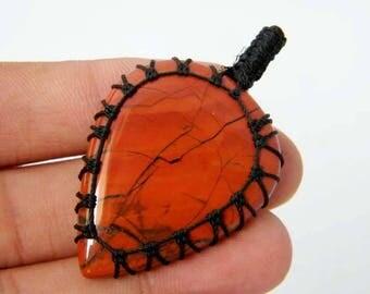 Red River Jasper Macrame Pendant, Jasper Macrame Necklace, Macrame Jewelry, Macrame Gift for Her SH-3946