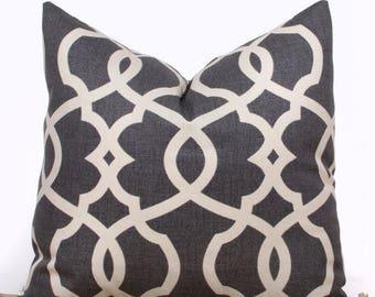 SALE ENDS SOON Gray Lattice Throw Pillow Cover, Gray and Cream Throw Pillows, Contemporary Home Decor, 16 x 16