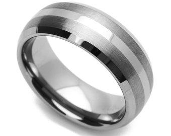 8MM Comfort Fit Tungsten Carbide Wedding Band Brushed Stripe Beveled Edges Ring(CT469RTN)