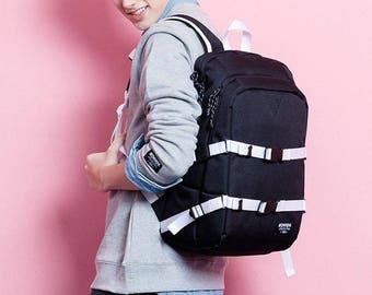 School Backpack Black Laptop Bag College School Bag Men Women Rucksack 431
