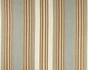 Red Gold Blue Stripe Linen Upholstery Fabric for Furniture, Waverly Stripe Ensemble Robins Egg Home Decor Fabric, Drapery Fabric Yardage