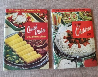 """1950's Culinary Arts Institute Paperback Cookbooks """"Dishes Children Love"""" & """"Quick Dishes for the Woman in a Hurry"""" Mid Century Recipes"""