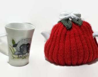 Hand knitted, Tea Cosie, White Flowers, hand knit cosy, wool cozy, Rose flower Cosies, Tea Pot Cover, Tea Lover's Gift, 4-6 cup, Hand made