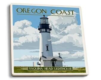 OR Coast - Yaquina Head Lighthouse - LP Artwork (Set of 4 Ceramic Coasters)
