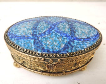 French Vintage Hand Painted Enamel on Copper Jewelry Box/ Vintage Trinket Box/Small Jewelry Box/Hand Painted Trinket Box/Jewelry Box