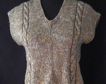 Vintage 1970s Wool Hand Knitted Tank Top