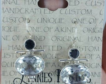 Quartz and Onyx Earrings