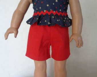 18 Inch Doll Clothes/18 Inch Doll Summer Clothes/3 Piece Red, White and Blue Shorts and Two Tank Tops. Pecfect for the 4th of July