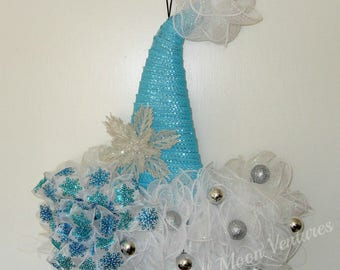 Santa hat door hanger blue and white santa hat Snow flake Blue Christmas Christmas Hat Wreath, Christmas Door Wreathsilver snow flake