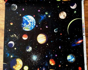 Nutex Solar System Planets Constellation Patchwork Quilting Fabric