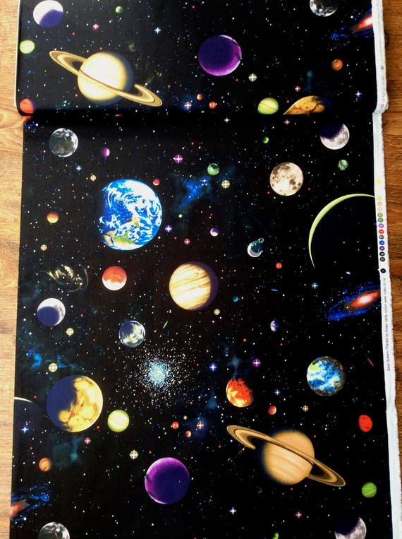 Nutex solar system space planets constellation patchwork for Solar system fabric
