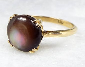 Antique Edwardian 9ct Yellow Gold Star Diopside Moonstone Cabochon Ring / Size M 1/2