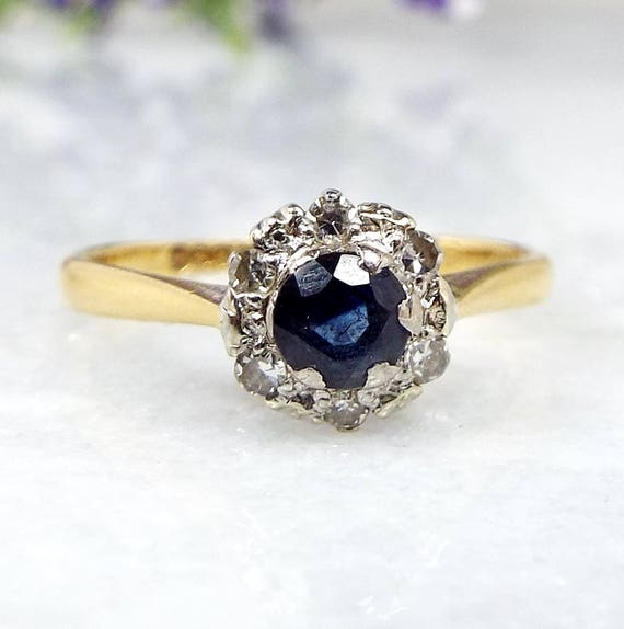 Vintage 1961 18ct Yellow Gold Genuine Sapphire and Diamond Cluster Ring Size K