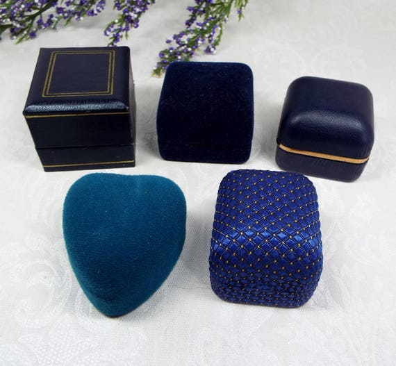 Vintage / Antique 5 Blue Tone Jewellery Ring Boxes for Display Collection Gift