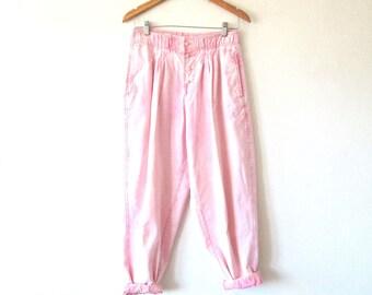 Wms Vintage 80s 90s Pink ACID WASHED High Waist Bugle Boy Pants Sz M