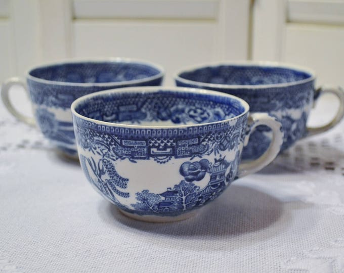 Vintage Blue Willow Teacup Set of 3 John Steventon Coffee Tea Cup England Replacement PanchosPorch