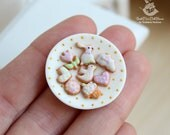 Miniature gingerbread cookies on a platter for dolls and doll houses. Scale 1:12. Handmade. Polymer clay. Dollhouse