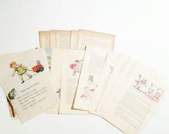 Kids Ephemera Pack, Vintage Paper Pack, Journal Supply, Old Papers, Scrapbook Supply, Paper Ephemera, Old Book Pages, Scrap Pack