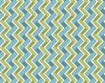 HEADS UP - Chevron Stripe in Aqua Blue / Green - Cotton Quilt Fabric - Studio 8 for Quilting Treasures Fabrics - 24255-QH (W4049)