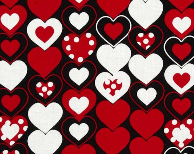 LUV BUGS - Heart Felt in Black / Red - Cotton Hearts Quilt Fabric - by Greta Lynn for Kanvas Studios at Benartex Fabrics - 6590-12 (W3877)