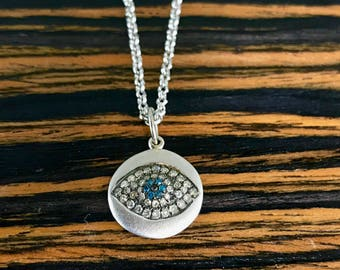 Blue Diamond Evil Eye Pendant 925 Sterling Silver