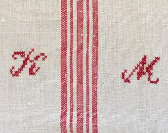 NS1641 Monogrammed 'KM' Linen Grainsack with Red Stripe