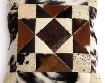 Natural Cowhide Luxurious Patchwork Hairon Cushion/pillow Cover (15''x 15'')a136