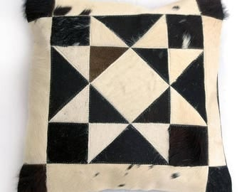Natural Cowhide Luxurious Patchwork Hairon Cushion/pillow Cover (15''x 15'')a157