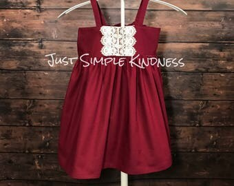 Girls Dresses, Girls Fall Dress, Girls Lace Dress, Toddler Dresses, Girls Christmas Dress, Girls Winter Outfit, Christmas outfit, Cranberry