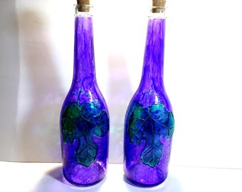 Painted Wine Bottles, Upcycled Bottles, Painted Bottles, Wine Decor, Purple Decor, Home Decor, Glass Bottles