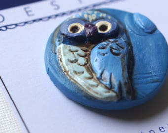 Blue Moon owl Pin Brooch made from Polymer Clay
