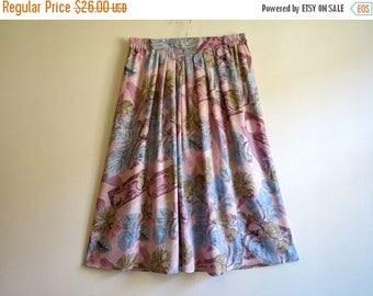 ON SALE Pastel Pink Blue Khaki Floral Print Skirt Midi Skirt Elastic Waist Skirt Pleated Summer Skirt Medium Size