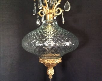Vintage Swag Light Dimple Glass and Hanging Crystals 1940s