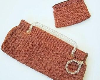 SALE Vintage Purse. 1940s purse. 40s purse. WW2 pink cord handbag. Corde bag. Celluloid purse.