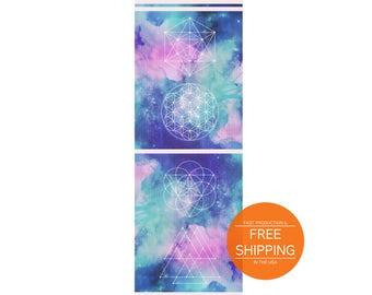 Mandala yoga mat, sacred geometry, galaxy mat, spiritual birthday gift for friend