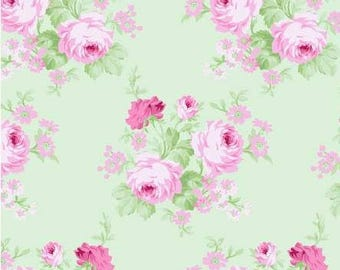 Shabby chic fabric Pink roses on green fabric Cabbage rose fabric Tanya Whelan Charlotte Collection